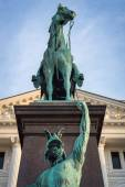 City Hall Altona with William I, German emperor equestrian statue. — Stock Photo