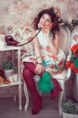 Retro fashion child girl — Stock Photo