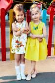 Little girls posing in park — Stock Photo