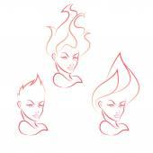 Fire Girl — Stock Vector