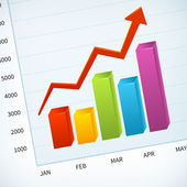 Upward business sales chart  — Stock Vector