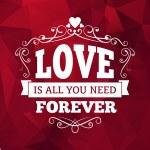 Wedding typography love you forever vintage card background design — Stock Vector #52961455
