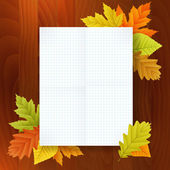 Autumn blank notepad on wood background — Stock Vector
