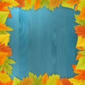 Wood autumn vector background with leafs — Vettoriale Stock