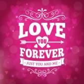 Love you forever typography greeting card background — Stockvektor