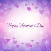 Happy Valentines day greeting card with hearts and lights — Stock Vector