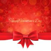 Happy Valentine's Day background with ribbon and bow — Vector de stock