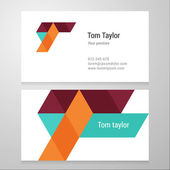 Modern letter T Business card template — Stock Vector