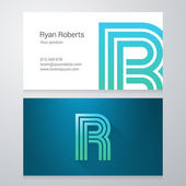 Letter R Business card template — Stock Vector