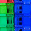 Plastic crate stacked product packing containers — Stock Photo #56820699