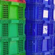 Plastic crate stacked product packing containers — Stock Photo #56820823