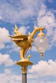 Golden swan light bulb with blue sky background — Foto de Stock