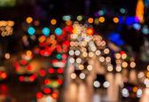 Abstact borrão bokeh de tráfego noite jam na estrada na cidade — Fotografia Stock