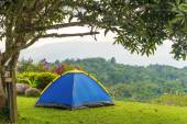 Camping tent in campground at national park with sunrise — Stock Photo