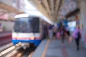 Abstract blurred of electrical train station — Stock Photo