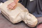 Modeling of dummy used in CPR training — Stock Photo