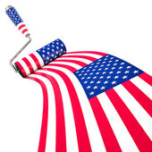 American Flag Painted by Roller Brush, Wining Concept of Flag — Stockfoto