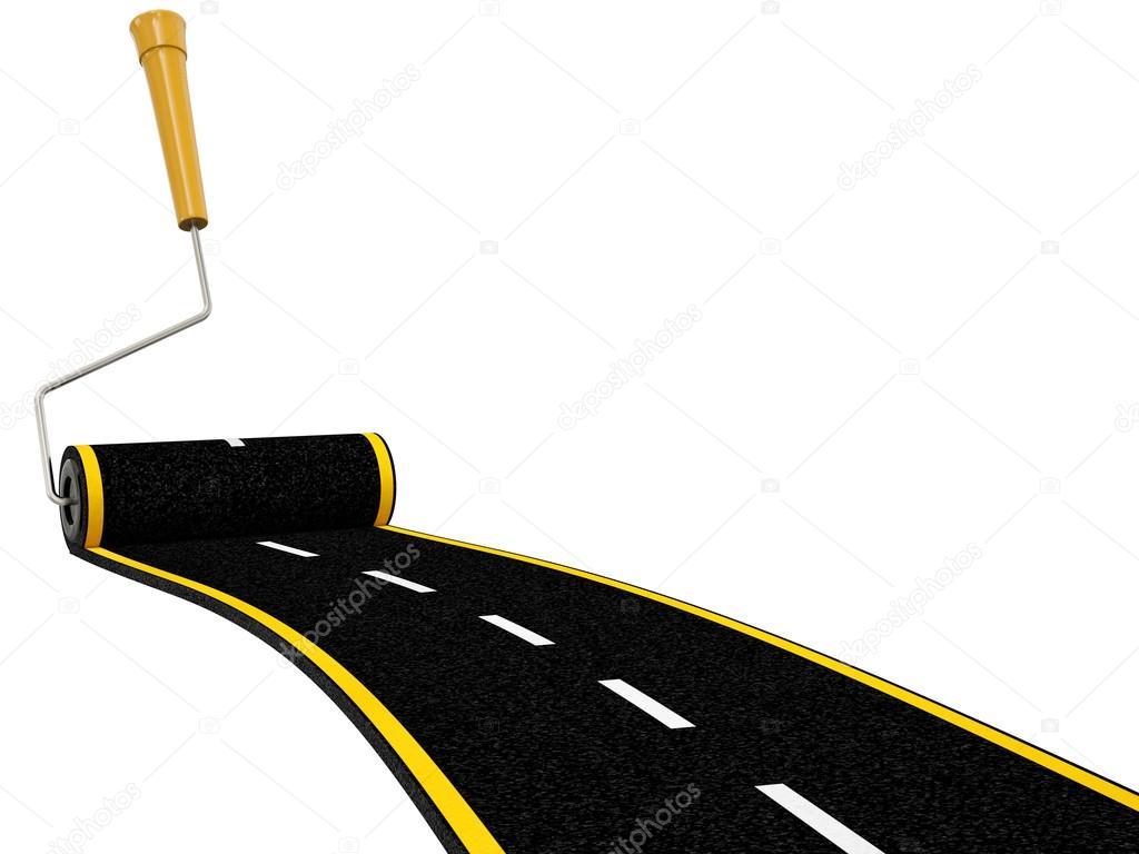 Rouleau brosse peinture route qui serpente isol sur fond for Nettoyer un rouleau de peinture