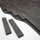 Black wood parquete construction — Stockfoto