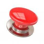 孤立在白纸上的红色按钮 — 图库照片
