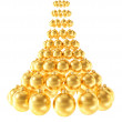 Christmas tree made of glossy golden spheres isolated on white background — Stock Photo #55994969
