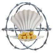 Barbed wires with shell and golden pearls 3d illustration — Stock Photo