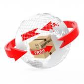 Tel küre ile ücretsiz kargo karton kutu — Stok fotoğraf
