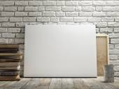 Mock up poster in white brick wall, wooden floor and wintge background. Horizontal concept — Zdjęcie stockowe