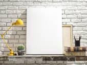 Mock Up Poster on table. White Brick Background — Zdjęcie stockowe
