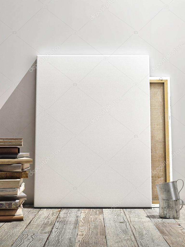 흰색 벽, 나무 바닥 및 wintge 배경에서 포스터를 비웃는 다. 수직 ...