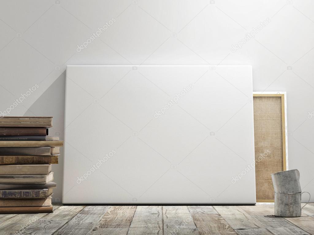 maquette affiche au mur blanc plancher en bois et fond de wintge concept horizontal. Black Bedroom Furniture Sets. Home Design Ideas