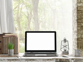 Mock up Laptop, Outdoor view, — Zdjęcie stockowe