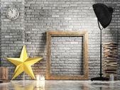 Loft studio, Christmas star, mock up frame — Photo