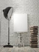 Mock up Poster on brick wall, lamp light, background — Stock Photo