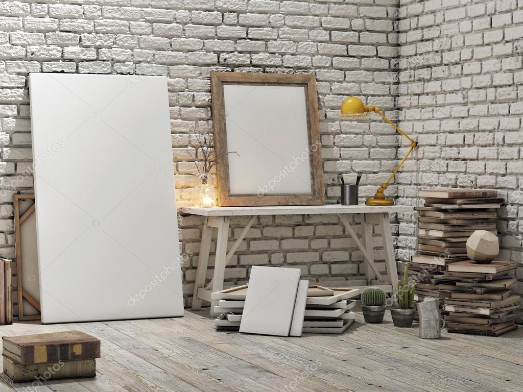 Mockup Interior Design Mock Up Poster Loft Studio White Brick Wall Background