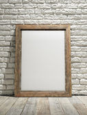 Interior eith frame poster background, white brick wall — Foto Stock