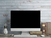 Mock up PC Screen, blue plank background — Stock Photo