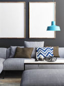 Mock up poster in living room, 3d illustration — Stock Photo