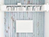 Mock up poster, bookshelf on white wooden wall, 3d illustration — Stock Photo