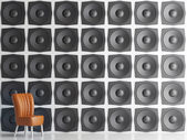 Wall of black speakers, 3d illustration — Stock Photo