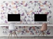 Mock up office, wall geometric decoration, 3d illustration — Stock Photo