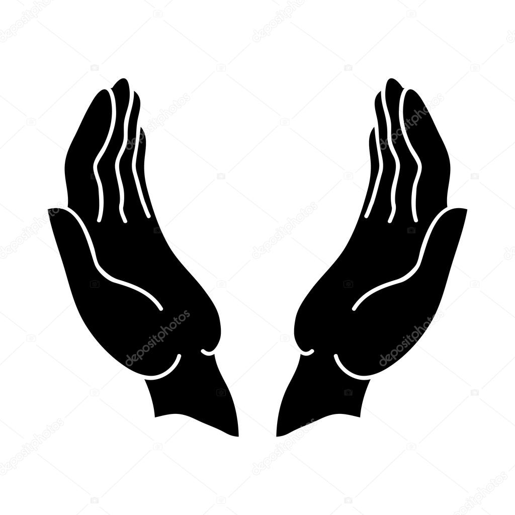 Open hands icon outline icon. — Stock Vector ...