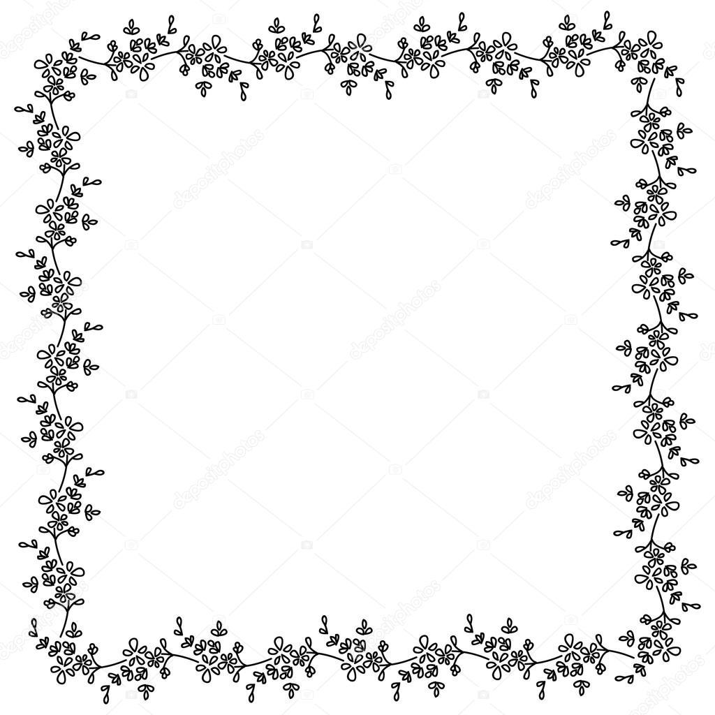 noir et blanc petites fleurs carr motif cadre photo. Black Bedroom Furniture Sets. Home Design Ideas