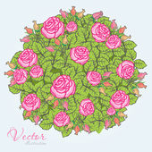 Doodle with roses — Stock Vector