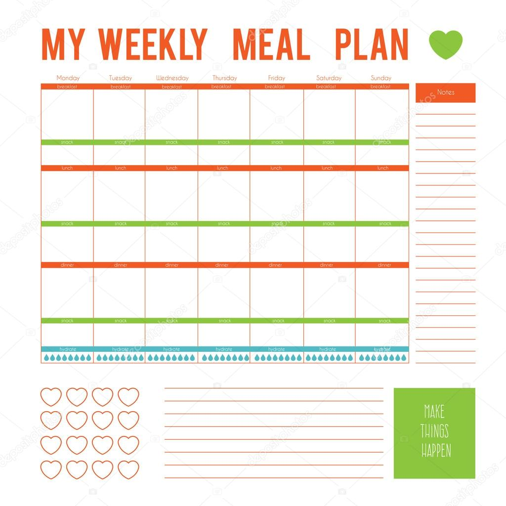 Meal Plan for a week,calendar page. Vector printable boxes