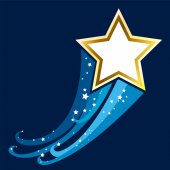 Shiny Gold Star with space. — Vector de stock