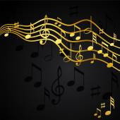 Gold music notes on a solide black background — Stock Vector