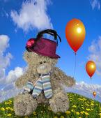 Teddy bear with baloon. — Stock Photo