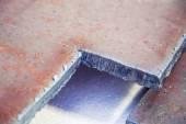 Sliced strip broom, scarf, steel, gas burner — Stock Photo
