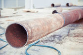 Svarnoy longitudinal welded in Trub, Trub of construction site — Stock Photo